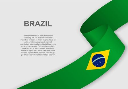 waving flag of Brazil. Template for independence day. vector illustration