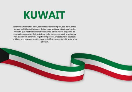 Agitant le drapeau du Koweït, illustration vectorielle