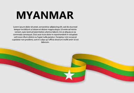 Waving Flag of Myanmar, vector illustration