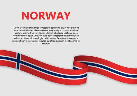 Winkende Flagge von Norwegen, Vektorillustration