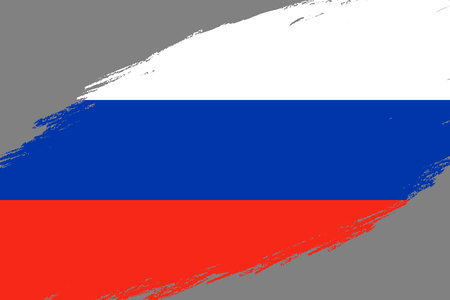Brush stroke background with Grunge styled flag of Russia
