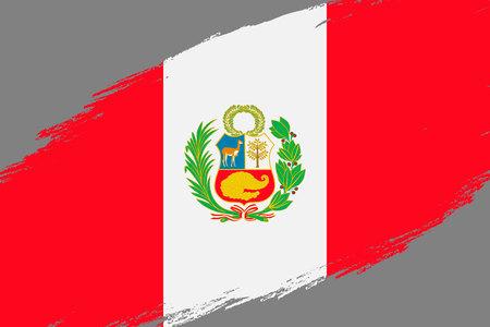 Brush stroke background with Grunge styled flag of Peru