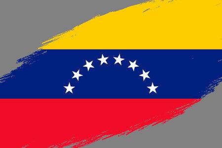 Brush stroke background with Grunge styled flag of  Venezuela Foto de archivo - 108752296