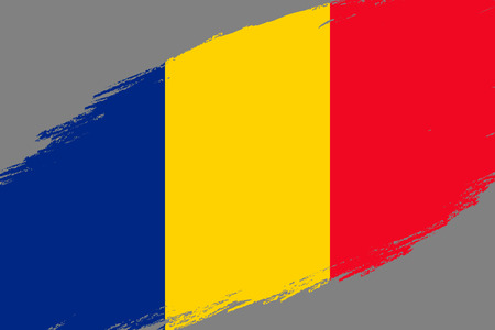 Brush stroke background with Grunge styled flag of Romania