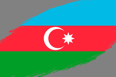 Brush stroke background with Grunge styled flag of Azerbaijan Illustration