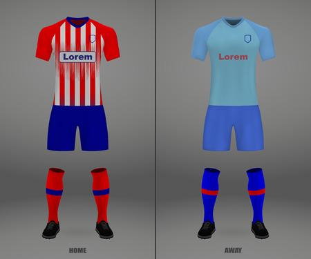 football kit Atletico Madrid 2018-19, shirt template for soccer jersey. Vector illustration
