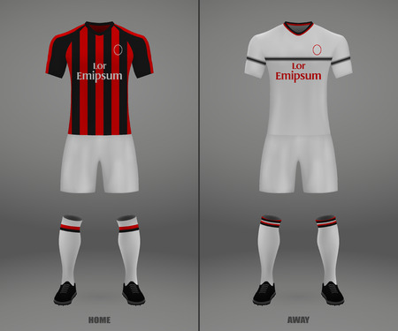 football kit Milan 2018-19, shirt template for soccer jersey. Vector illustration
