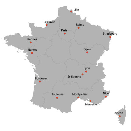 detailed map of the France with cities