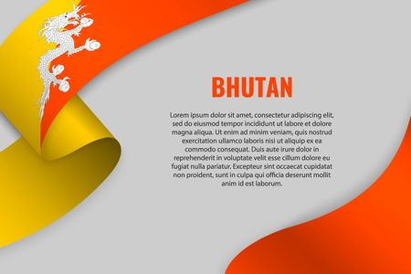 Waving ribbon or banner with flag of Bhutan. Template for poster design