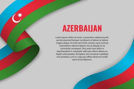 Waving ribbon or banner with flag of Azerbaijan. Template for poster design