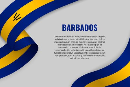 Waving ribbon or banner with flag of Barbados. Template for poster design