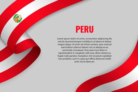Waving ribbon or banner with flag of Peru. Template for poster design