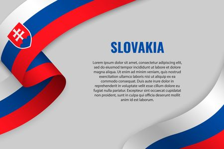 Waving ribbon or banner with flag of Slovakia. Template for poster design