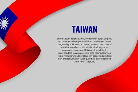 Waving ribbon or banner with flag of Taiwan. Template for poster design