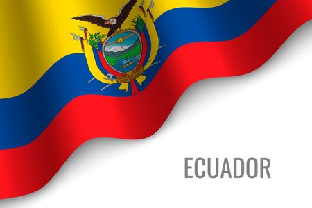 waving flag of Ecuador with copyspace. Template for brochure. vector illustration Imagens - 110482194