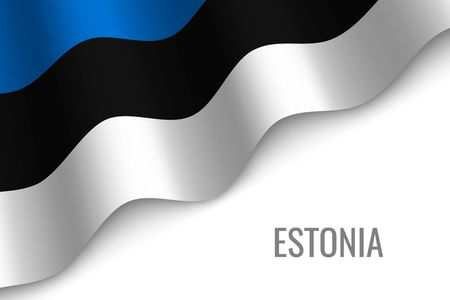 waving flag of Estonia with copyspace. Template for brochure. vector illustration