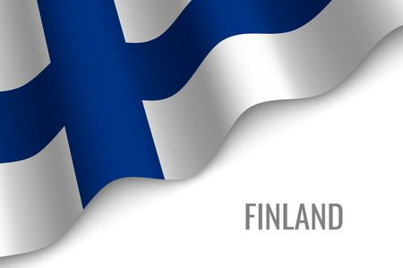 waving flag of Finland with copyspace. Template for brochure. vector illustration Çizim