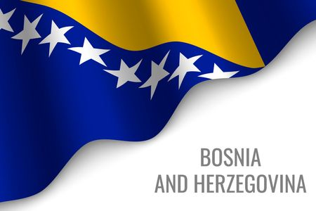 waving flag of Bosnia and Herzegovina with copyspace. Template for brochure. vector illustration