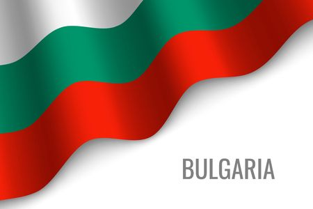waving flag of Bulgaria with copyspace. Template for brochure. vector illustration Иллюстрация