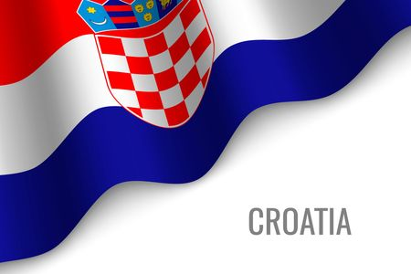 waving flag of Croatia with copyspace. Template for brochure. vector illustration  イラスト・ベクター素材