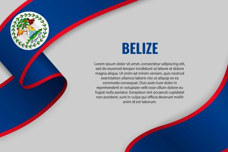 Waving ribbon or banner with flag of Belize. Template for poster design