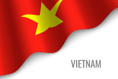waving flag of Vietnam with copyspace. Template for brochure. vector illustration Illustration