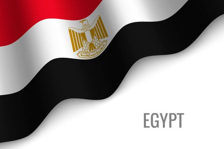 waving flag of Egypt with copyspace. Template for brochure. vector illustration
