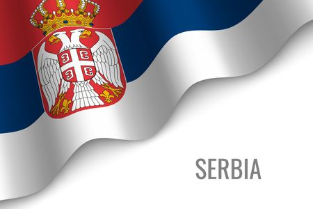 waving flag of Serbia with copyspace. Template for brochure. vector illustration
