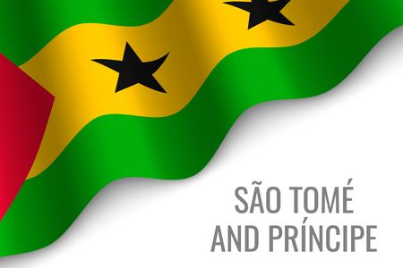 waving flag of Sao Tome and Principe with copyspace. Template for brochure. vector illustration