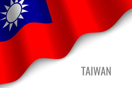 waving flag of Taiwan with copyspace. Template for brochure. vector illustration