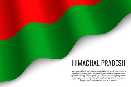 waving flag of Himachal Pradesh is a region of India on white background. Template for banner or poster. Vektoros illusztráció