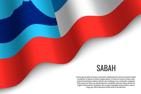 waving flag of Sabah is a region of Malaysia on transparent background. Template for banner or poster. vector illustration