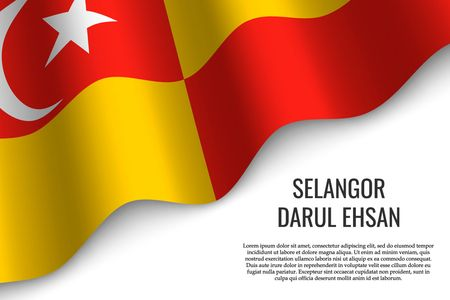 waving flag of Selangor Darul Ehsan is a region of Malaysia on transparent background. Template for banner or poster. vector illustration Ilustração