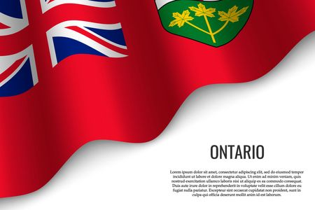 waving flag of Ontario is a region of Canada on transparent background. Template for banner or poster.