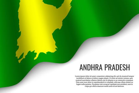 waving flag of Andhra Pradesh is a region of India on white background. Template for banner or poster. Illustration