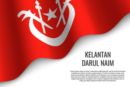 waving flag of Kelantan Darul Naim is a region of Malaysia on transparent background. Template for banner or poster. vector illustration