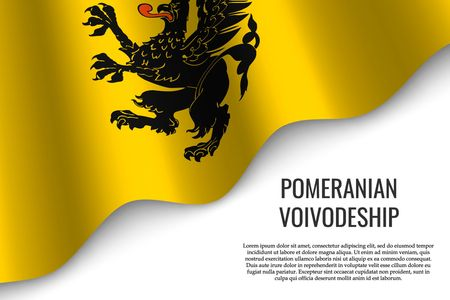 waving flag of Pomerania Province is a region of Poland on white background.