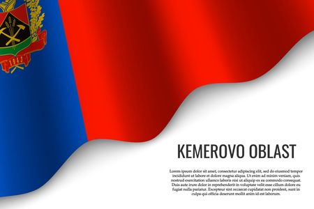 waving flag of Kemerovo Oblast is a region of Russia on transparent background. Template for banner or poster. vector illustration