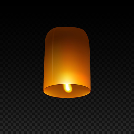 Sky Lantern isolated on transparent background. Flying Lamp. Template for Diwali