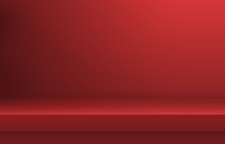 Empty red color shelf with shadow background ,Template for premium, luxury product presentation