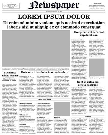 modèle de première page de journal réaliste. illustration vectorielle