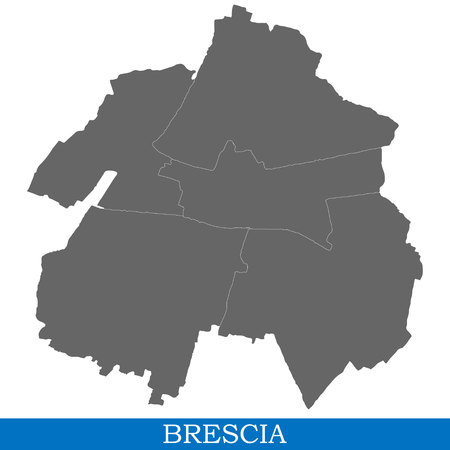 High Quality map of Brescia is a city of Italy, with borders of districts