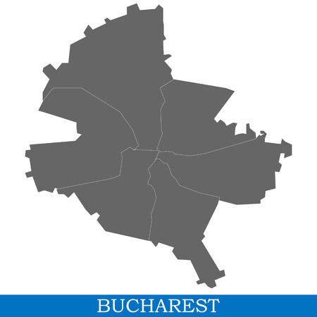 High Quality map of Bucharest is a city in Romania, with borders of districts Vettoriali