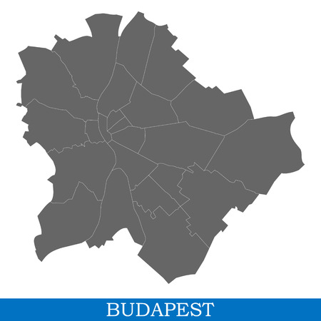 High Quality map of Budapest is a city in Hungary, with borders of districts Illustration