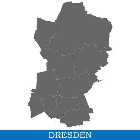 High Quality map of Dresden is a city of Germany, with borders of districts