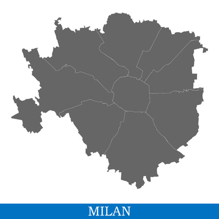 High Quality map of Milan is a city of Italy, with borders of districts
