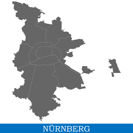 High Quality map of Nuremberg is a city of Germany, with borders of districts