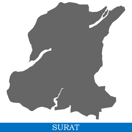 High Quality map of Surat is a city of India, with borders of districts