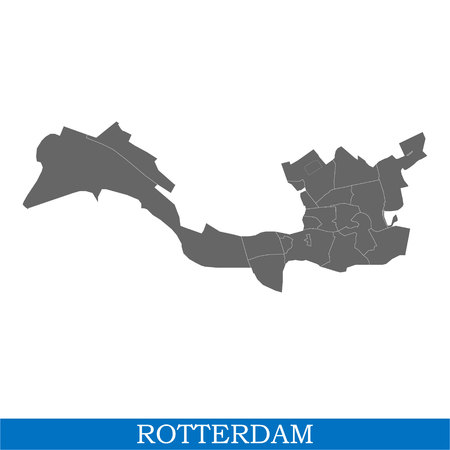 High Quality map of Rotterdam is a city of Netherlands, with borders of the districts