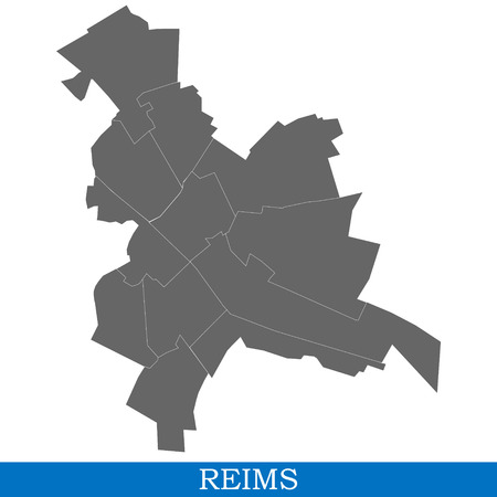 High Quality map of Reims is a city of France, with borders of districts